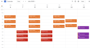 Schedule for July